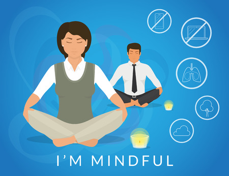 Office people sitting in calm lotus pose and relaxing looking at burning candle. Illistration of woman and man are meditating and thinking about mindfulness after hard working day