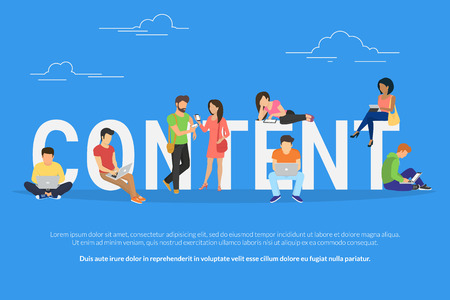 Content concept illustration of young various people using laptop, tablet pc and smartphone to use social networks and websites. Flat design of guys and young women staying near big letters content