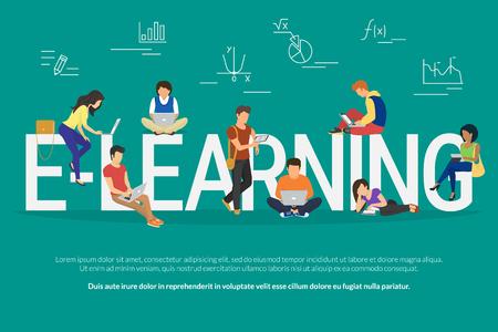E-learning koncepcji ilustracji z różnych młodych ludzi za pomocą laptopa, Tablet PC i smartphone na odległość nauki i edukacji. Płaska konstrukcja chłopaków i młodych kobiet przebywających w pobliżu Duże litery e-learning Ilustracje wektorowe