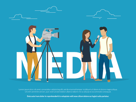 Mass media concept illustration of live news tv broadcasting. Flat design of female reporter taking the interview with young guy staying near big letters media on blue background