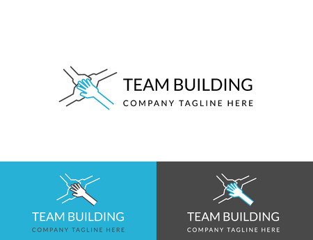 Team building business design in three colors