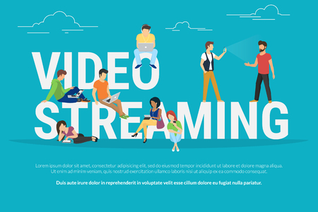 big letters: Video streaming concept illustration of young various people using laptop, tablet pc and smartphone to watch live video streaming via internet. Flat design of guys and women staying near big letters