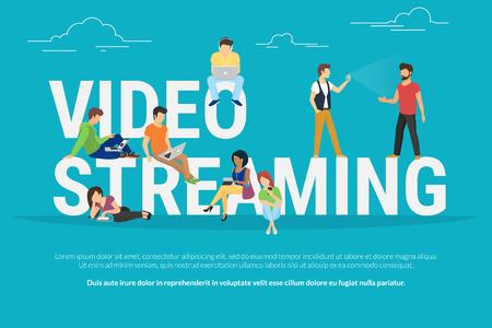 Video-Streaming-Konzept Illustration der jungen verschiedenen Menschen mit Laptop, Tablet-PC und Smartphone-Live-Video zu sehen über das Internet-Streaming. Flaches Design von Jungs und Frauen in der Nähe von großen Buchstaben bleiben Standard-Bild - 56046481