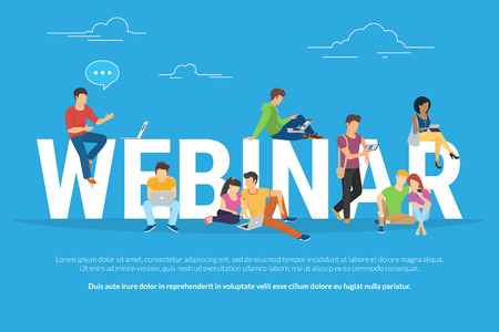 Webinar concept illustration of young various people using laptop, tablet pc and smartphone to watch online webinar with skilled instructor. Flat design of guys and young women staying near big letters webinar Vettoriali