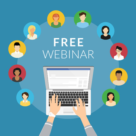 Free webinar concept illustration of human hands typing on the laptop to unit various people on the free webinar. Flat design of guys and young women participating in distance learning webinar