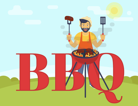 guy standing: BBQ cooking party. Flat illustration of smiling guy is cooking steaks on the barbecue outdoors. Funny hipster wearing hat is cooking bbq and standing near bbq letters Illustration