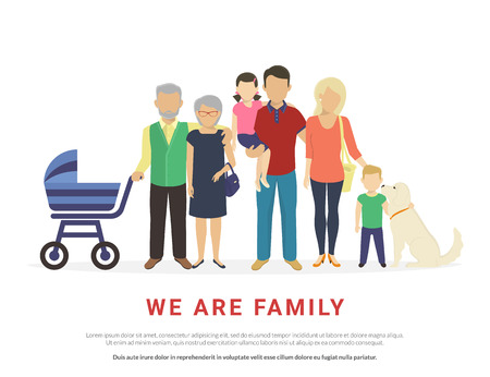 family portrait: Big traditional family concept illustration of family portrait. Flat design of father and mother with their children and grandparents and dog isolated on white background