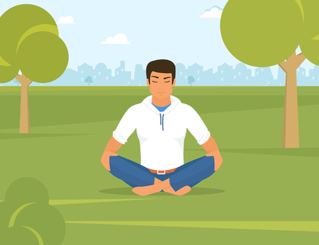 meditation man: Flat illustration of calm tanned man is doing yoga and meditation in the position in the park on the green field. He is relaxing and meditating alone with nature