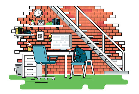 red brick: Flat line contour illustration of student workplace organization. Empty room interior with red brick wall, bookshelfs, work desk with computer, chair , school bag and green carpet. Isolated background Illustration