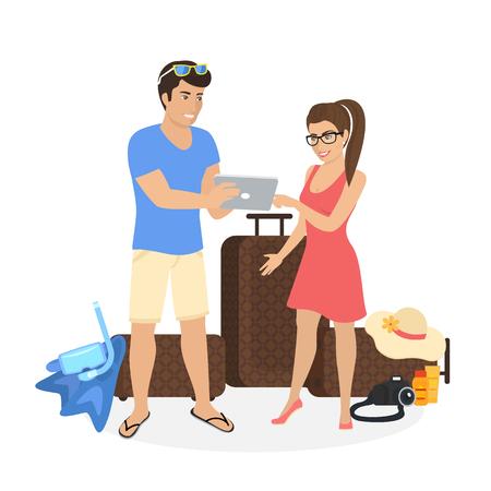 fiestas electronicas: Joven pareja de pie cerca de equipaje y con la PC de la tableta para ver las fotos de sus vacaciones o que están planeando viajar y elegir el hotel o complejo en el PC tableta. Las personas aisladas en blanco Vectores