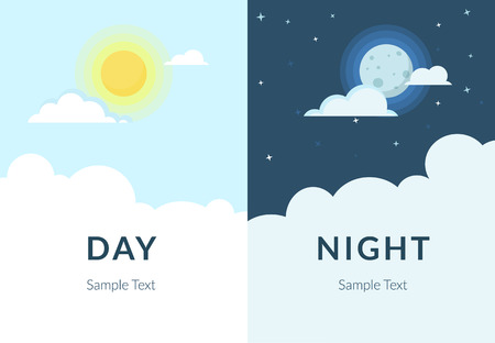 Half day and night, sun and moon with clouds. Flat illustration of sky and weather broadcasting, cloud and life, period and cycle for banners of mobile app backgrounds