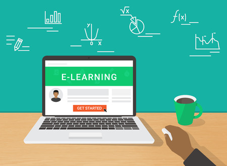 getting started: E-learning flat concept illustration of human hand working using laptop for distance studying and education. Man sitting at home and getting started distance education on website displayed on laptop