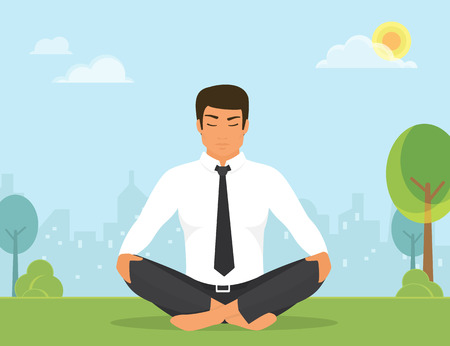 meditation man: Flat illustration of calm man is doing yoga and meditation in the lotus position in the park on the green field. He is relaxing and meditating alone with nature