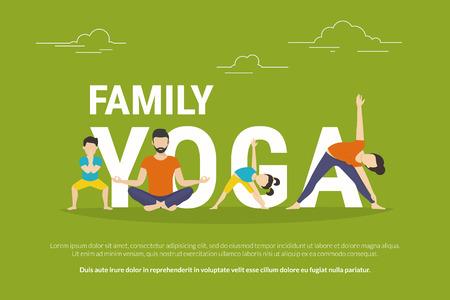 Familie Yoga-Konzept Illustration von Menschen, die Yoga-Übungen und sitzen in Lotus-Pose. Flaches Design von Vater und Mutter mit Kindern Yoga-Pose in der Nähe von Buchstaben auf grünem Hintergrund isoliert
