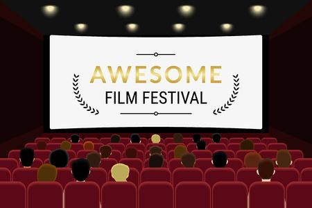 Ludzie siedzą w sali kinowej i oglądanie filmu w kinie. Płaski illlustration festiwalu filmu szablonu Przeznaczona z przestrzeni kopii na ekranie kinowym