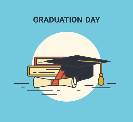 undergraduate: Graduation day flat line illustration of education symblols such as books, graduation university hat and certificate with red ribbon. Flat icon isolated on blue background