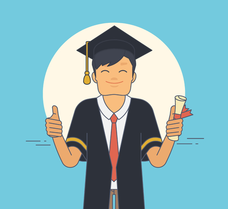 mantle: Proud student wearing black ceremony mantle and hat in graduation day. Young happy man holds in his hand certificate and does thumbs up gesture. Flat illustration of character graduated university Illustration