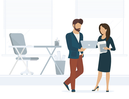 desktop computer: Office people discuss a project. Flat illustration of project brainstorming between two colleagues. Man showing the project on laptop to female business woman. He is a designer or project developer
