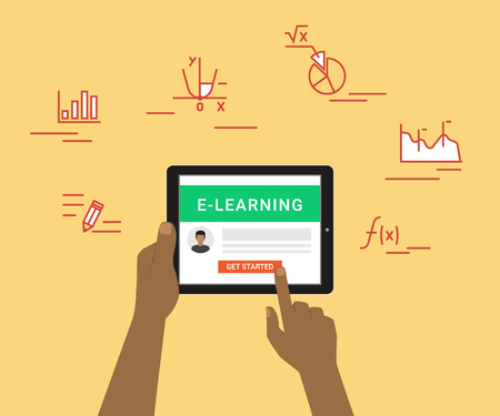 getting started: E-learning flat concept illustration of human hand using tablet pc for distance studying and education. Man holds in his hand black tablet pc and getting started distance education on website Illustration