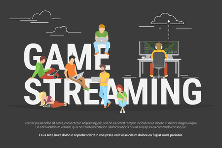 big letters: Game streaming concept of young various people using laptop, tablet pc and smartphone to watch live game streaming while game player playing e-sport . Flat illustration of people near big letters
