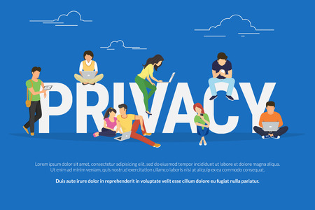 authentication: Privacy concept illustration of young various people using mobile gadgets such as tablet pc and smartphone via confidential internet tenologies. Flat design of guys and women near big letters Illustration