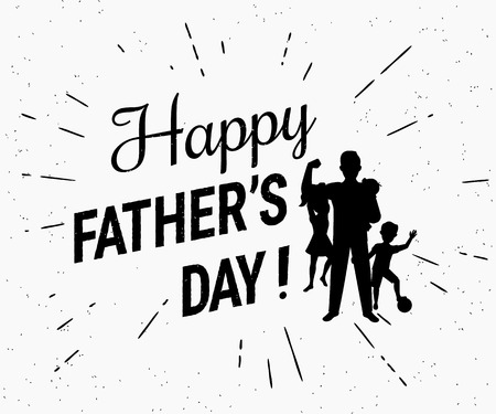 congratulations banner: Happy fathers day flat conceptual illustration for greeting card or congratulations banner. Retro fashioned black transparent illustration on white background with sun burst rays in hipster style Illustration