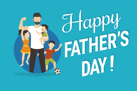 congratulations banner: Happy fathers day flat conceptual illustration for greeting card or congratulations banner. Happy father with kids standing in the blue circle
