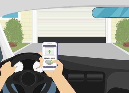 Remote access via smartphone mobile app to the garage door. Flat illustration of human hand holds smartphone with mobile app for remote household control. Man unlocks garage door sitting in the car 版權商用圖片 - 57835643