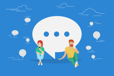 talk big: Chat talk concept illustration of young people using mobile smartphone for sending messages to each other via internet. Flat design of guy and woman sitting on the floor near big speech bubble symbol