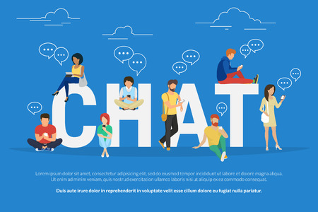 Chat concept illustration of young various people using mobile gadgets such as tablet pc and smartphone for texting messages each other via internet. Flat guys and women standing near big letters chat Vectores