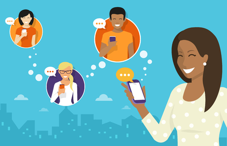 Smiling african woman holds the smartphone in her hand and sending messages to friends via messenger app. Flat illustration of instant texting and data sharing with friends via messenger mobile app Illustration
