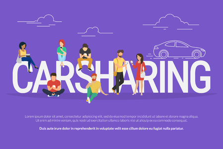 shared sharing: Carsharing concept illustration of various people using mobile gadgets such as tablet pc and smartphone to rent a car via carsharing service. Flat design of guys and women standing near big letters Illustration