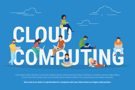 big letters: Cloud computing concept illustration of young various people using mobile gadgets such as tablet pc and smartphone for working in cloud storage. Flat design of guys and women standing near big letters