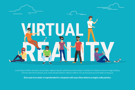 Virtual reality concept illustration of young various people wearing virtual reality helmet for playing game and virtual simulation. Flat design of guys and women standing near big letters Illusztráció