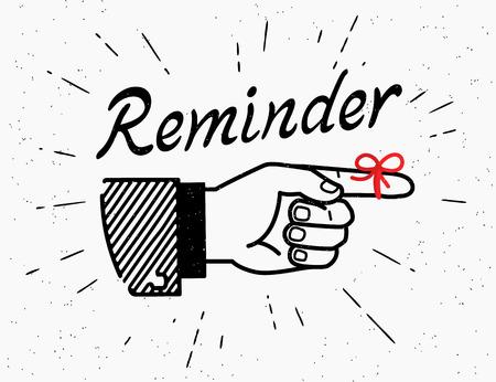 Menschliche Jahrgang Handzeichnung mit auf weißem Hintergrund Finger im Retro-Stil mit Schriftzug Erinnerung und rote Band auf dem Finger zeigt Standard-Bild - 58800791