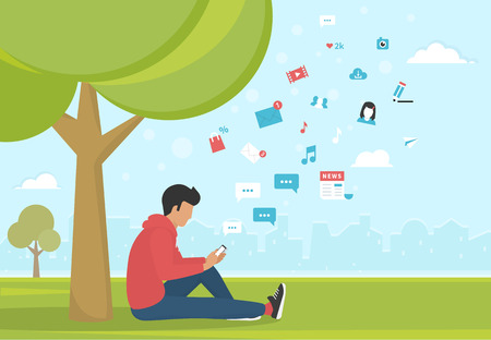 man using computer: Young man sitting in the park under a tree and texting messages using smartphone. Flat modern illustration of social networking, searching and sending email and texting to friends in social networks Illustration