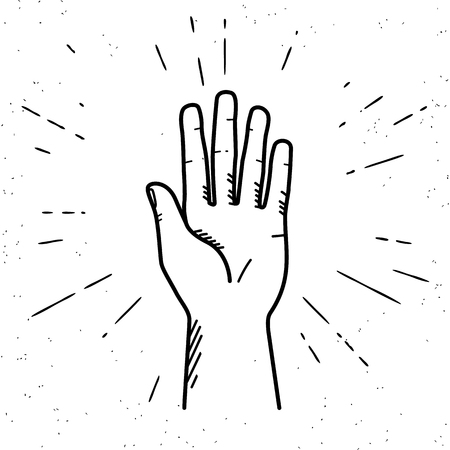 high five: Human hand giving a high five for great work. Vintage illustration for icon in hipster style of high five fingers with sunburst rays engrave isolated on white background Illustration