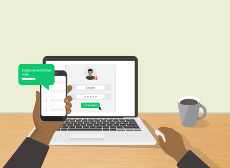 2 steps authentication concept flat illustration of human hand holds smartphone and have a message with id verification code. African man sitting at desktop and getting access to the website Vettoriali