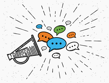 Retro megaphone with speech bubbles concept illustration for promouting social media networks or community. Vintage megaphone icon in hipster style for advertisement and announce