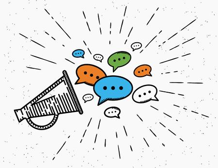 Retro Megaphon mit Sprechblasen-Konzept Illustration für promouting Social-Media-Netzwerke oder Gemeinde. Jahrgang Megaphon Symbol für Werbung in Hipster-Stil und verkünden Standard-Bild - 58547919