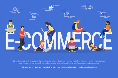 E-commerce concept illustration of young people using mobile gadgets such as laptop, tablet and smartphone for online purchasing and ordering goods via internet. Flat guys and women near letters ecommerce