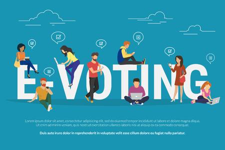 E-voting concept illustratie van jonge mensen met behulp van mobiele gadgets zoals laptop, tablet en smartphone voor online stemmen via elektronische internet-systeem. Flat jongens en vrouwen in de buurt letters e-voting