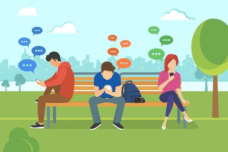 Los jóvenes que se sientan en el parque y los mensajes de texto mensajes en el chat con smartphone. Ilustración moderna plana de charla a través del teléfono móvil, envío de mensajes y enviar mensajes de texto a sus amigos a través de aplicaciones de mensajería
