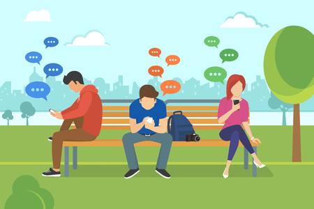 caucasian men: Young people sitting in the park and texting messages in chat using smartphone. Flat modern illustration of chat via mobile phone, sending message and texting to friends via messenger app