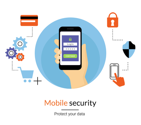 verification: Mobile website authentication concept line illustration of human hand holds smartphone and do log in using verification password or code. Get an access to the website flat icon with security symbols