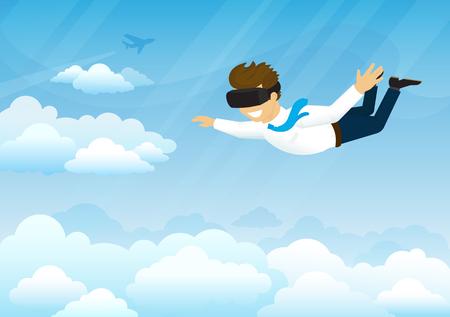 guy Heureux vole dans le ciel en utilisant un dispositif monté sur la tête pour la réalité virtuelle. Concept illustration du simulateur de réalité virtuelle à havg amusant et voler dans le ciel. dispositif futuriste pour l'industrie du jeu