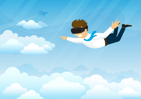 simulator: Happy guy is flying in the sky using head-mounted device for virtual reality. Concept illustration of virtual reality simulator to havg fun and flying in the sky. Futuristic device for game industry