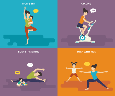 Family with kids concept flat icons set of mother with her baby standing in yoga pose, woman riding exercise bike, stretching the body and sitting with kids, mother doing sport exercises with doughter