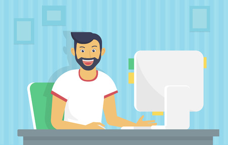 beard man: Man is working with computer. Flat fun illustration of happy student studying or working using pc at home desk. Young man reading email or coding a website at his desktop he is glad and smiling