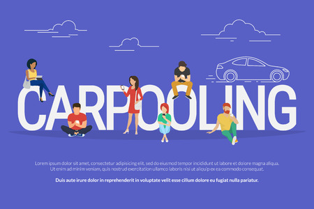 Carpooling concept illustration of people using mobile gadgets such as tablet pc and smartphone to rent a car via carpooling service. Flat design of guys and women standing near big letters Vectores